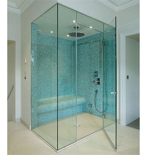 Luxury Bathroom With Frameless Hinged Glass Shower Doors Shower Stall Doors