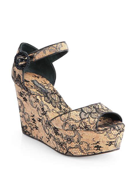 dolce gabbana cork lace wedge sandals in beige black