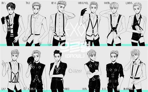 exo anime exo growl anime versions just realized they wear the