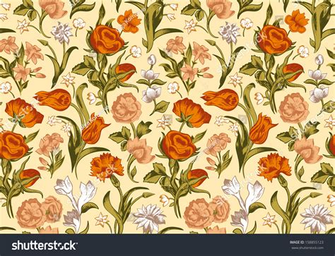 pattern vintage red light romantic seamless vector vintage floral pattern red