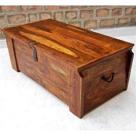 Handmade Trunk - rustic solid wood iron handmade storage trunk chest box