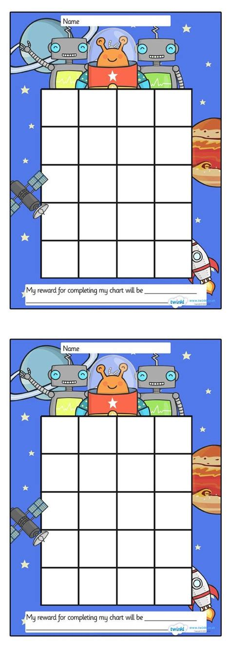 printable reward charts for school space sticker st reward chart free printables