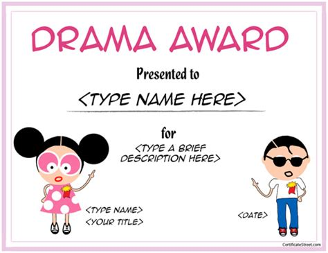 Education Certificates   Drama Award Template for Children
