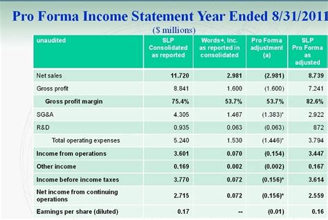 pro forma financial statements template proforma income statement template exle income