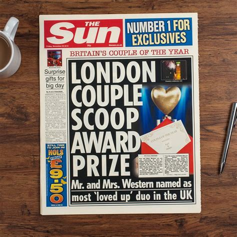 Wedding Anniversary Newspaper Gift by The Sun Personalised Spoof Newspaper Article Anniversary