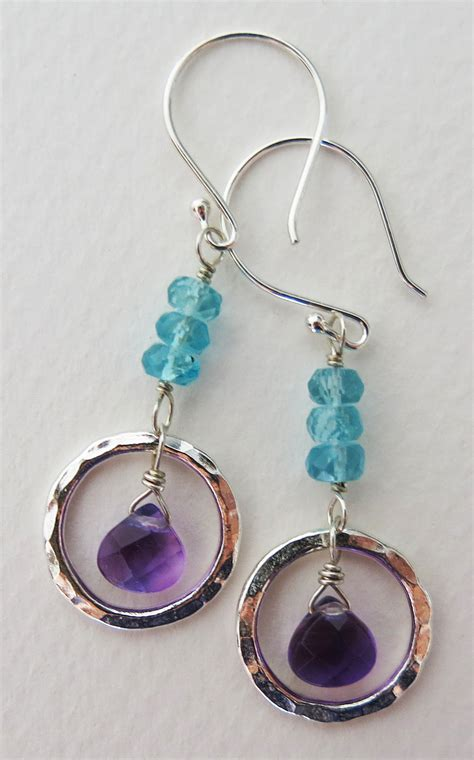 Handmade Earrings - handmade amethyst and apatite circle earrings handmade