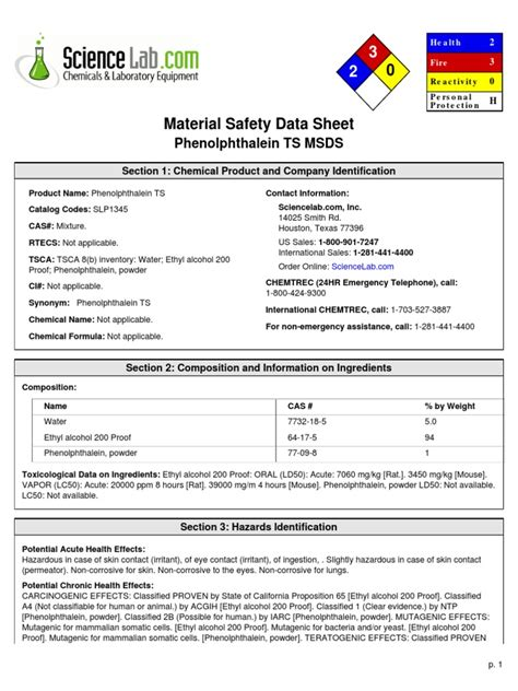 msds section 2 msds phenolphthalein ethanol