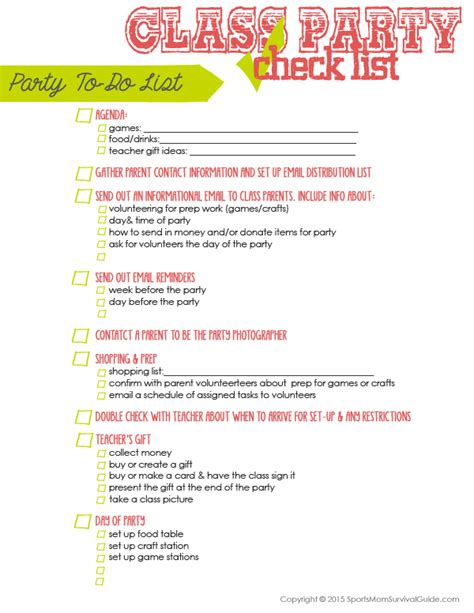 list of food to bring to christmas party room parent checklist sportsmomsurvivalguide