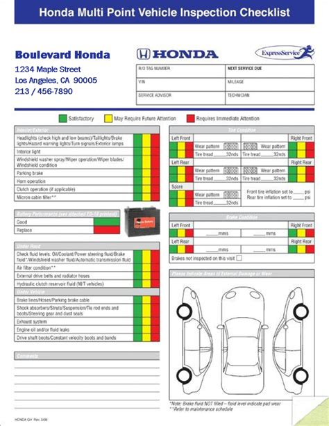 Multi Point Vehicle Inspection Forms 2 Part Imprinted Vehicle Inspection Template