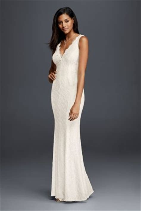 casual wedding dresses at affordable prices db studio by allover lace v neck sheath wedding dress david s bridal