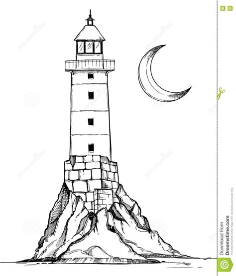 Seaside House Plans hand drawn vector illustration lighthouse on the rock