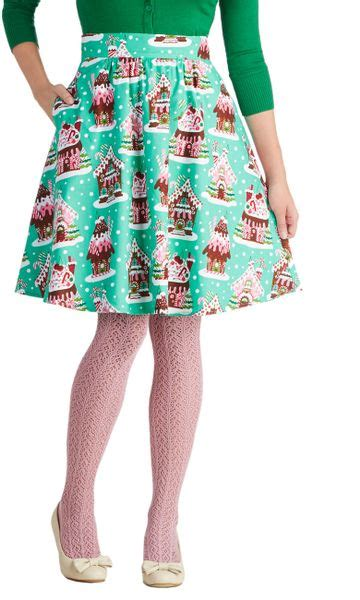 modcloth gingerbread home sweet home skirt in green lyst