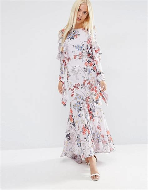 Gray Flounced Sleeved Strapless Dress asos asos cold shoulder sleeve ruffle maxi dress in grey floral