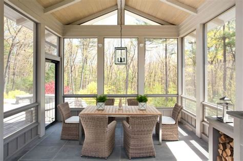 Attached Sunroom Design Liz Caan Interiors Enclosed Patio With Wood Plank Vaulted