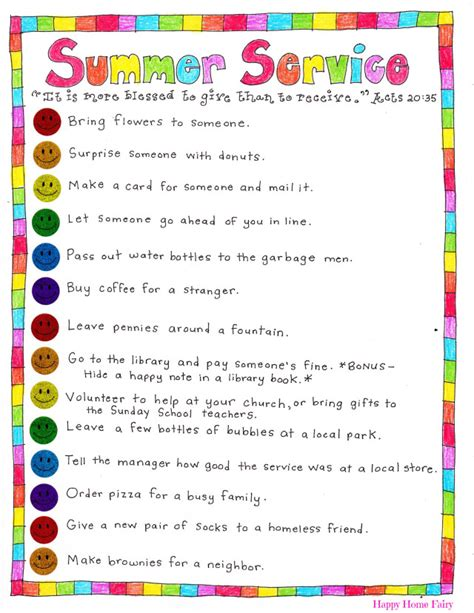 summer service ideas free printable happy home