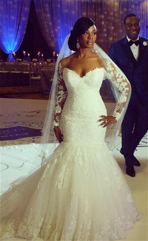 mermaid long sleeve plus size wedding dress 2017