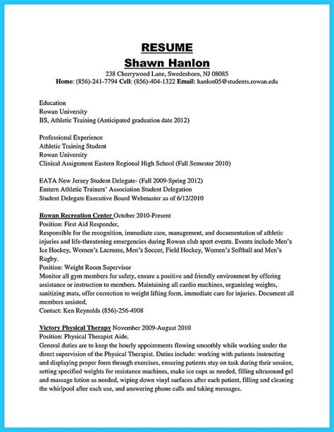 College Athletic Trainer Sle Resume by Sle Athletic Trainer Cover Letter Gmagazine Co