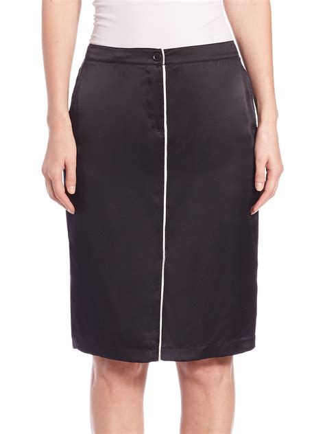 atm piped silk satin pencil skirt in black lyst