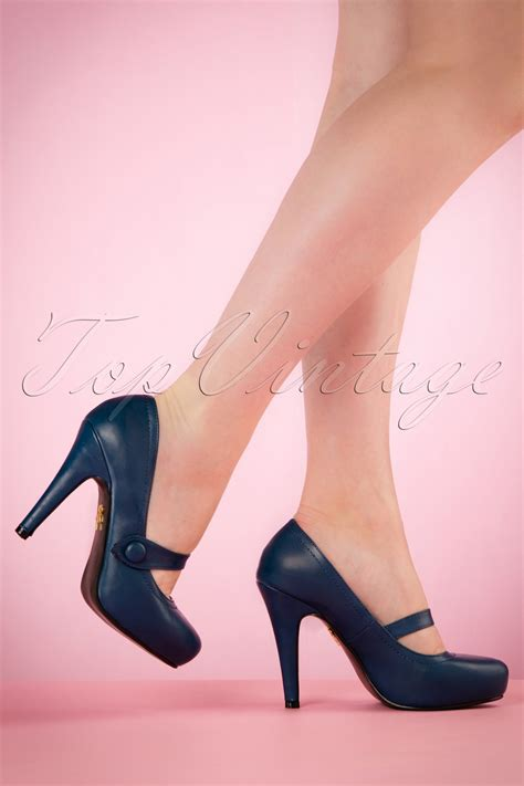 high heels pumps shop 40s dolly pumps in navy