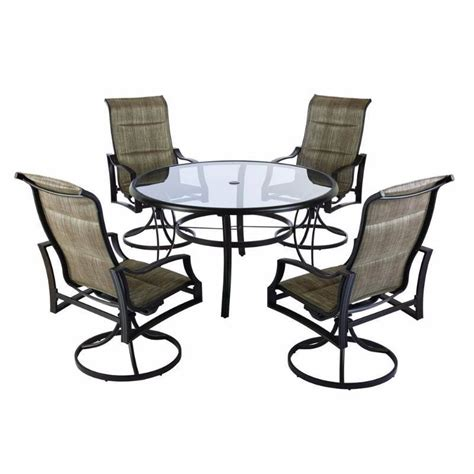 hton bay statesville padded sling patio dining set of 4