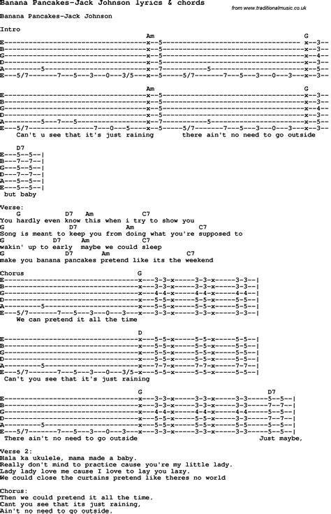 ukulele tutorial jack johnson love song lyrics for banana pancakes jack johnson with chords