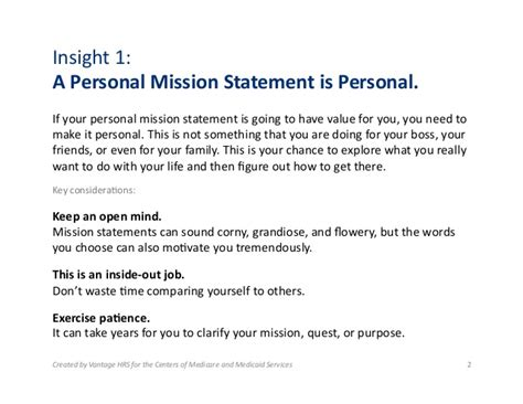 exles of personal mission statements for students