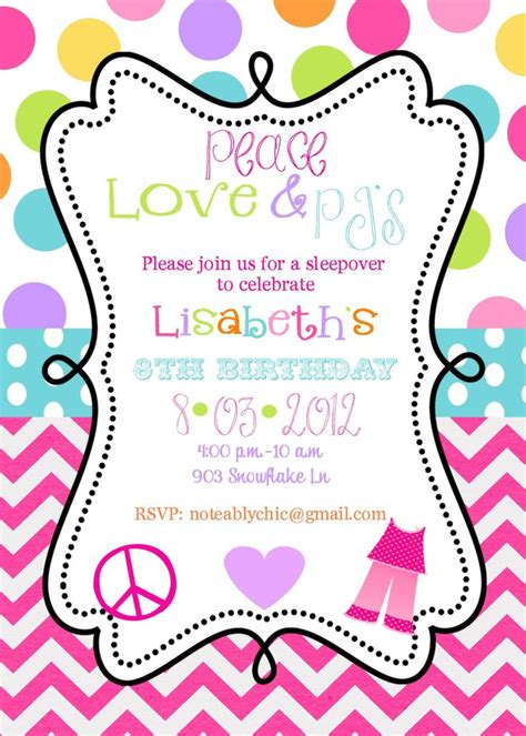 free printable birthday invitations 12 year olds 12 peace love pjs pajama party sleepover slumber party