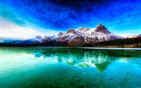 Fond d'écran Reflet de la montagne dans un lac   My HD