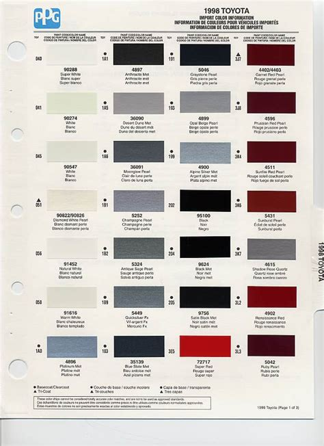 Color Code Toyota 1998 Toyota Paint Codes