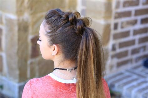 girl hairstyles pony pull thru ponytail cute girls hairstyles