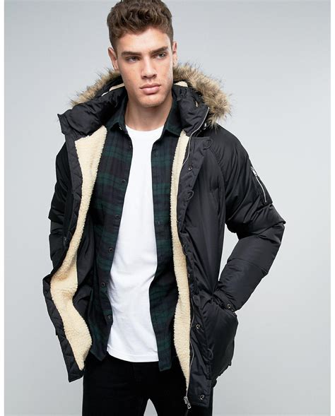 Pull And Anorak Quilted Jacket Black pull parka jacket in black in black for lyst