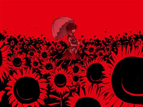 wallpaper anime red red sunflowers general wallpaper