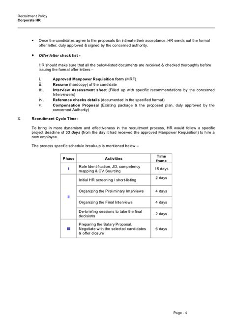 appointment letter format for recruitment recruitment policy