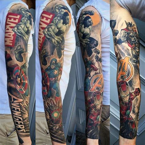 avengers tattoo sleeve 60 marvel tattoos for comic design ideas