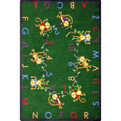 Monkey Area Rug Carpets Kid Essentials Early Childhood Monkey Business Green Area Rug Carpetmart