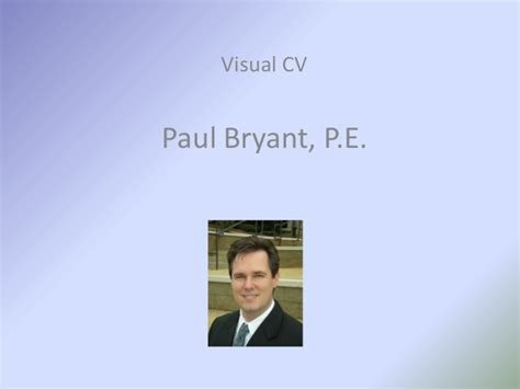 Bryant One Year Mba by Paul Bryant Pe Mba Visual Resume