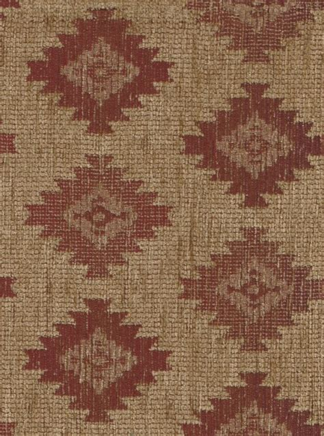 Western Upholstery Fabric by Maroon Light Brown Western Design Upholstery Fabric