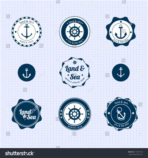 set of vintage nautical sea labels with retro typography set vintage retro nautical labels stock vector 119474149
