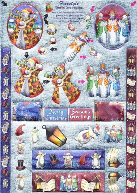 die cut decoupage sheets snowmen freestyle 3d die cut decoupage sheet from dufex