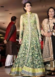 Karisma kapoor in beautiful light green anarkali long frock latest