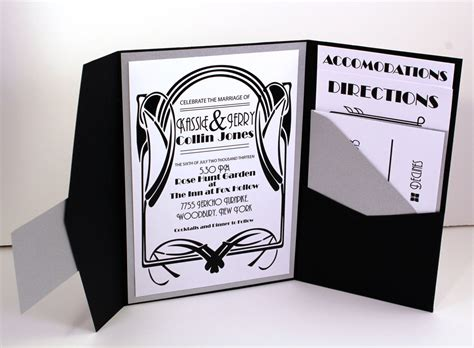 art deco wedding invitation bellus designs