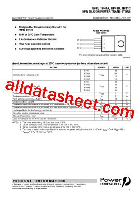 tip41 transistor datasheet pdf tip41 datasheet pdf power innovations ltd