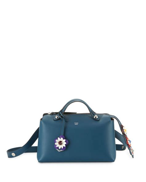 fendi small by the way flower satchel bag blue multi modesens
