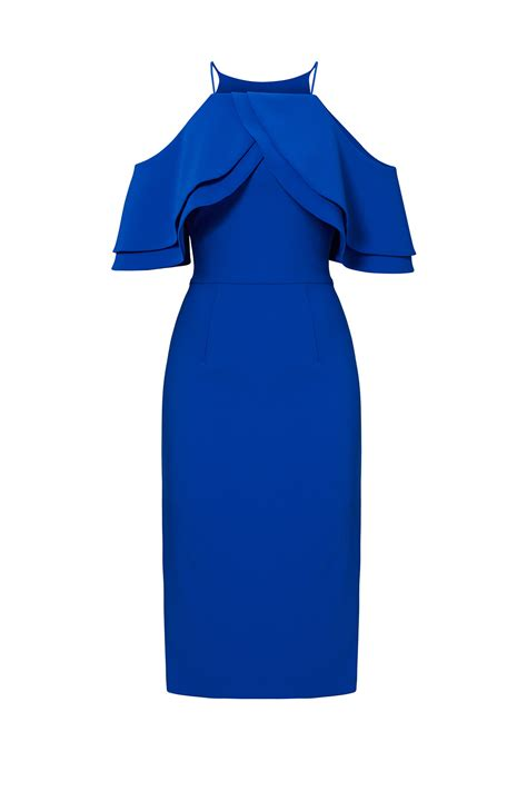 Donela Dress No 180 cobalt multi ruffle dress by christian siriano for 180 195 rent the runway