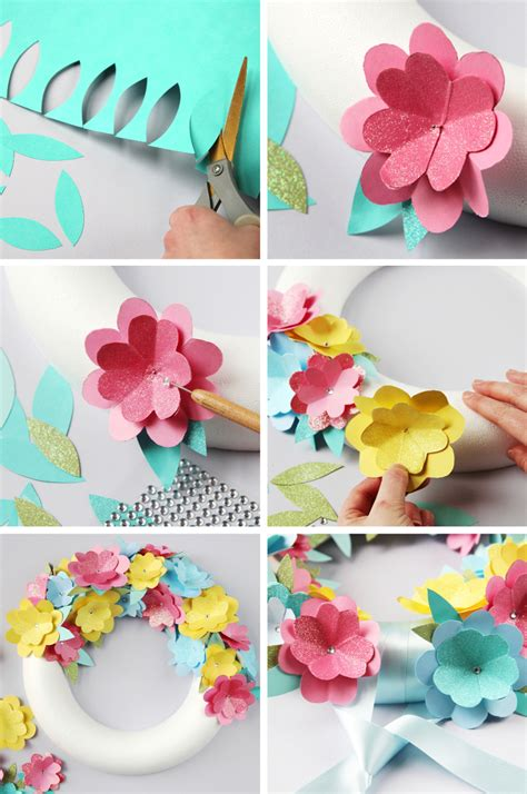 diy paper flower wreath gathering