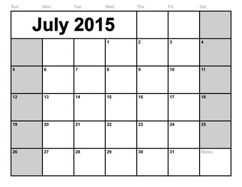 Free Printable 2015 Monthly Calendar Templates july 2015 calendar printable template big size 6 templates