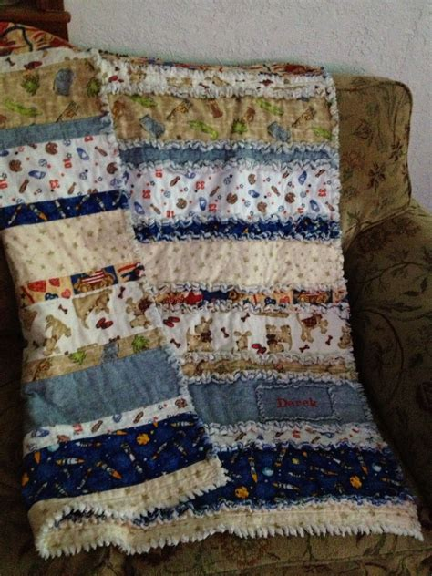baby boy rag quilt  derek rag quilt quilts quilt sewing