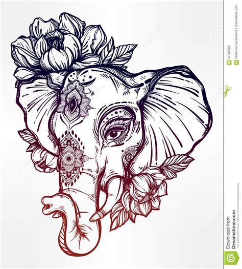 elefante decorativo con el ornamento tribal flores