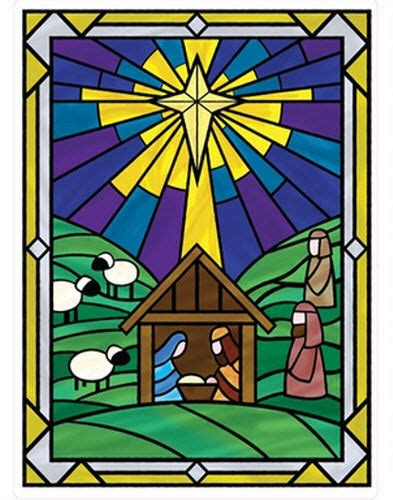 nativity stained glass cling mural 1 big window