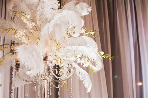 feather centerpieces for wedding cloud 9 weddings papers 1920 s inspired vignette at be five